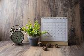 Desktop Calendar 2019 And Vintage Clock Place On Wooden Office Desk.calender For Planner Timetable,a poster