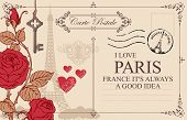 Retro Postcard With Eiffel Tower In Paris, France. Romantic Vector Postcard In Vintage Style With Re poster