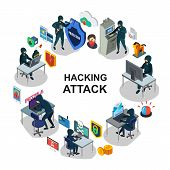 Isometric Internet Security Round Concept With Hackers Computer Mobile Servers Laptop Atm Payment Ca poster