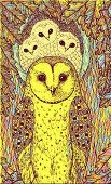 Hand Drawn Art With Owls On The Oak Tree. Realistic Psychedelic Colorful Graphic Artwork. Vector Ill poster