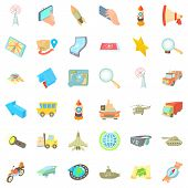 Urban Navigation Icons Set. Cartoon Set Of 36 Urban Navigation Icons For Web Isolated On White Backg poster