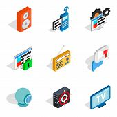 Web Info Icons Set. Isometric Set Of 9 Web Info Icons For Web Isolated On White Background poster