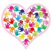 Children hand prints in the heart
