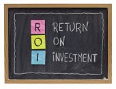 ROI - return on investment acronym explained with color sticky notes and white chalk handwriting on