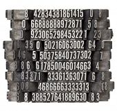 random numbers in vintage grunge metal letterpress printing blocks falling as in domino effect, isol