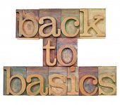 back to basics - fundamental principles concept -isolated text in vintage wood letterpress printing