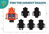 Find The Correct Shadow For Cute Cartoon Humanoid Robot Educational Preschool Kids Mini Game. Vector poster