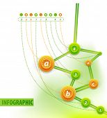 Visual art of infographics. Info charts - route or chronological tree with points and creative descr
