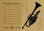 Trumpet Concerts Program Template With Black Trumpet Silhouette, Sample Text, Calligraphic Ornament  poster