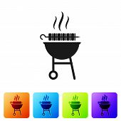 Black Barbecue Grilled Shish Kebab On Skewer Stick Icon Isolated On White Background. Bbq Meat Kebab poster