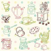 Set of hand drawn doodle - Tea and Coffee Time in vector