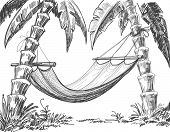 Hammock and palm trees vector drawing