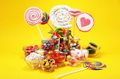 Candies With Jelly And Sugar. Colorful Array Of Different Childs Sweets And Treats. poster