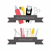 Barbershop And Manicure Tools Illustrations Set. Hairdresser Salon Professional Equipment With Ribbo poster
