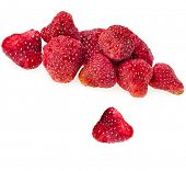 dried strawberries , isolated on a white background