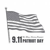 Patriot Day Usa Never Forget 9.11 Vector Poster.  Patriot Day In America Vector Illustration 11 Sept poster