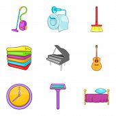 Domestic Affair Icons Set. Cartoon Set Of 9 Domestic Affair Icons For Web Isolated On White Backgrou poster