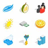 Business Tour Icons Set. Isometric Set Of 9 Business Tour Icons For Web Isolated On White Background poster