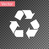 White Recycle Symbol Icon Isolated On Transparent Background. Circular Arrow Icon. Environment Recyc poster