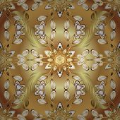 Classic Vintage Background. Seamless Pattern On Beige And Yellow Colors With Golden Elements. Tradit poster