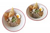 Thin Rice Noodles, The Food With The Seasoning Fish Ball Fried Wonton Medium-boiled Egg Vegetable An poster