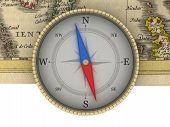 Alte Karte und Kompass isoliert auf weiß
