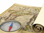 alte Karte und Kompass, isoliert auf weiss