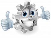 Gear Giving Thumbs Up Cartoon Character