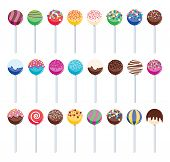 Vector Set Of Colorful Cake Pops. Sweet Candy Lollipops With Sprinkles For Food Backgrounds. Cake Po poster