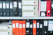 Colourful Blank Blind Folders With Files In The Shelf. Archival, Stacks Of Documents At The Office O poster