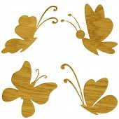Wooden butterfly on white