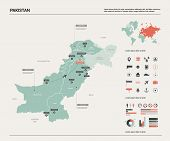 Vector Map Of Pakistan. Country Map With Division, Cities And Capital Islamabad. Political Map,  Wor poster