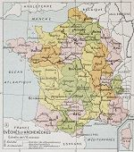 French Diocese and Archdiocese old map. By Paul Vidal de Lablache, Atlas Classique, Librerie Colin,