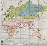 Climate and streams in Europe, Asia, Africa and Australia old map. By Paul Vidal de Lablache, Atlas