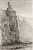 Neckarsteinach castles old view, Germany. Created by Stroobant, published on Le Tour Du Monde, Paris, 1867