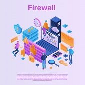 Firewall Data Concept Background. Isometric Illustration Of Firewall Data Vector Concept Background  poster