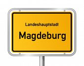 City limit sign MAGDEBURG against white background - capital of the federal state Saxony Anhalt - Sa