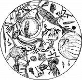 Microbes under microscope
