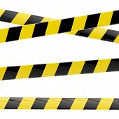 Black and yellow glossy barrier tapes  isolated