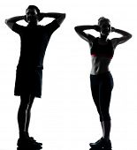 one couple man woman exercising workout aerobic fitness posture full length silhouette on studio iso