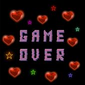 Retro Pixel Game Over Sign With Hearts And Stars On Black Backround. Gaming Concept. Colored Glitch  poster