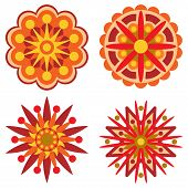 Four Retro Flowers