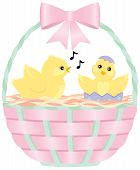 Easter Basket with Chicks