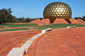 Golden Ball Of Temple In Auroville, India