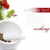 Ceramic Mortar with Pestle, fresh spices and vegetables (with easy removable sample text)