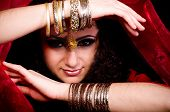 picture of concubine  - Beautiful young woman in color arabian clothes - JPG