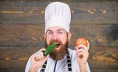 Healthy Raw Food. Dieting Concept. Man Wear Hat And Apron Hold Tomato. Healthy Nutrition. Bearded Hi poster