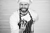 Cheerful And Polite Restaurant Stuff. Master Chef Serving Meal In Restaurant. Chef Cook In Uniform S poster