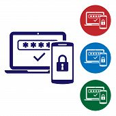 Blue Multi Factor, Two Steps Authentication Icon Isolated On White Background. Set Color Icon In Cir poster
