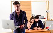 The Best Laptop For Work. Businessman Using Laptop While Collegues Using Smartphone Mobile Technolog poster